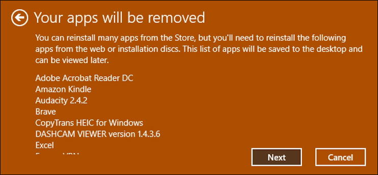 win10 systemreset fresh start - what will be removed