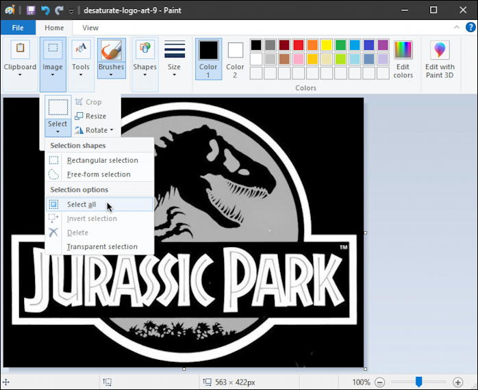 jurassic park black white logo - invert colors - paint