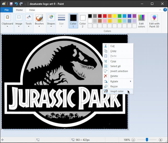 jurassic park black white logo - invert colors - paint - invert menu