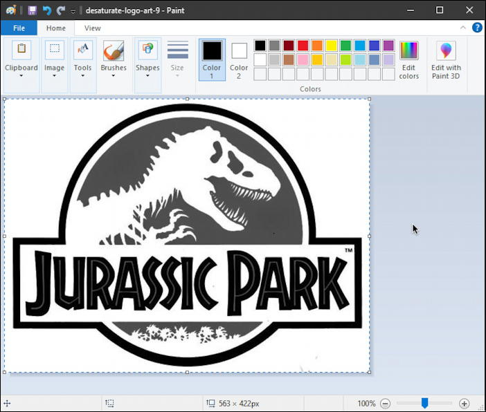 jurassic park black white logo - invert colors - paint inverted