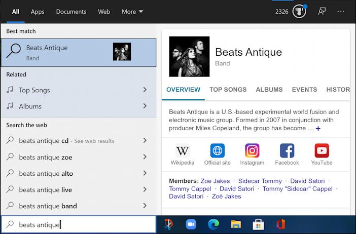 win10 taskbar search - beats antique - no match