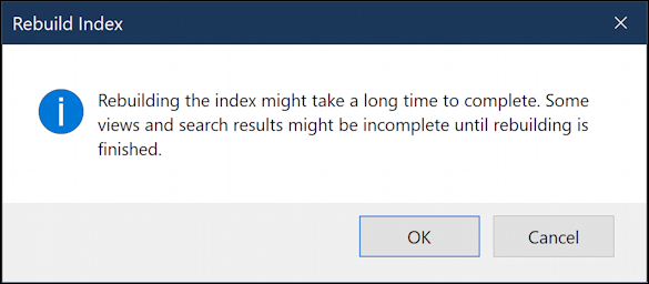 win10 windows search database rebuild - slow