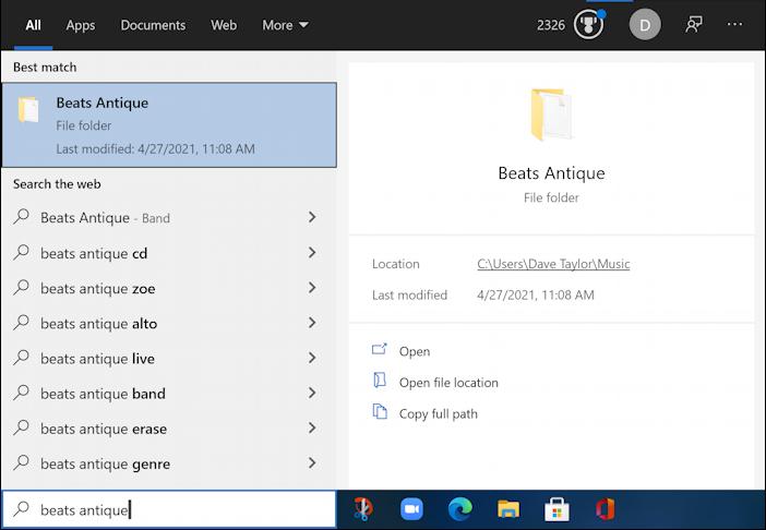 windows 10 win10 search database taskbar beats antique