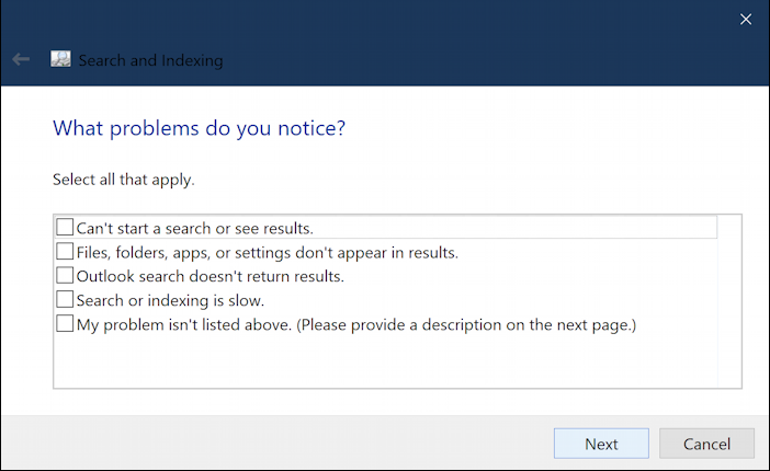 identify problems troubleshoot win10 search