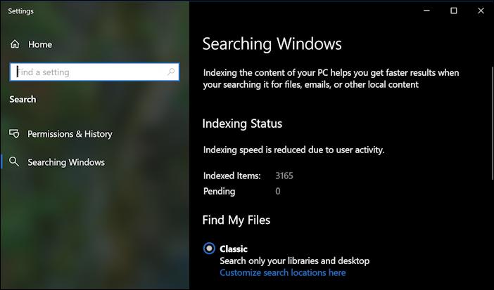 win10 windows search settings - main