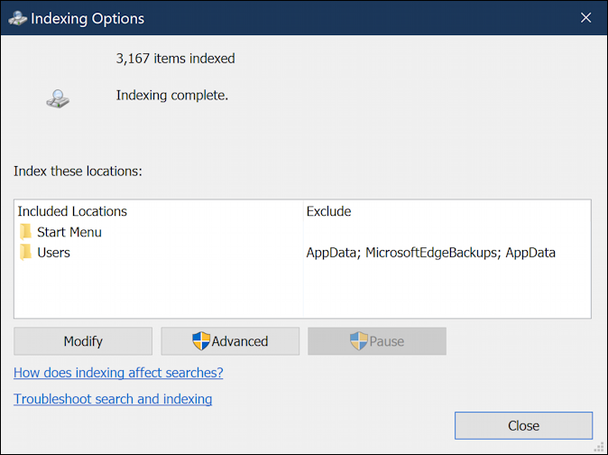 win10 windows search what is included files folders excluded