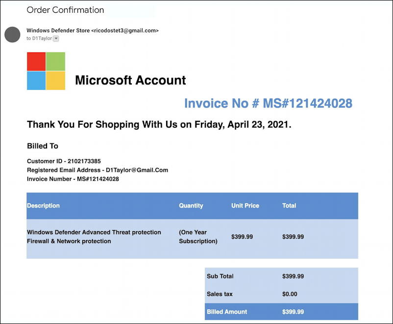 microsoft windows defender subscription invoice scam spam - main message email