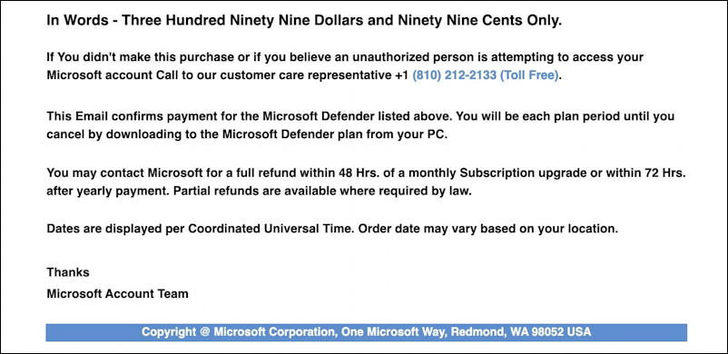 microsoft windows defender subscription invoice scam spam - more email info
