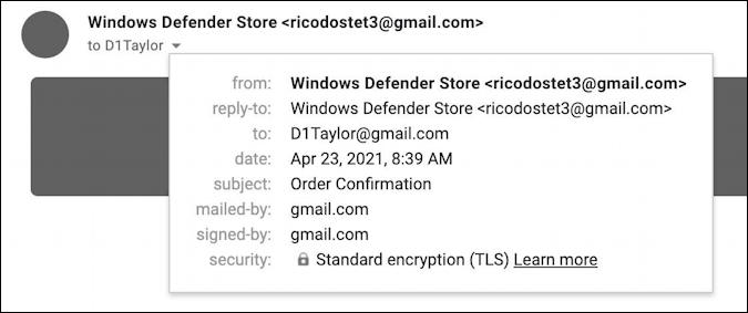 microsoft windows defender subscription invoice scam spam - email details sender