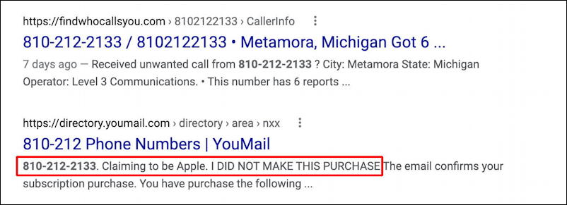 microsoft windows defender subscription invoice scam spam - phone number scam identification google search results