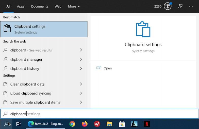 win10 taskbar search: clipboard