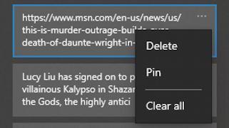 win10 clipboard settings - pin or delete clipboard history entry
