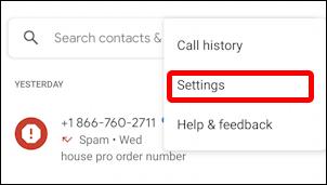 android spam call screening settings - menu 1