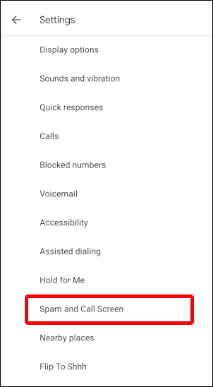 android spam call screening settings