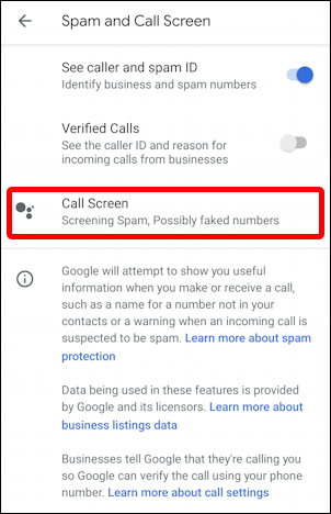 android spam call screening settings - main settings preferences