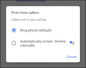 android spam call screening settings - first time callers