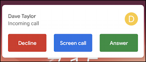 android incoming call options