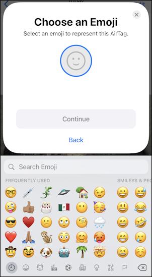 set up apple airtag - step 3 emoji