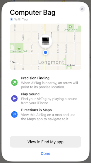 set up apple airtag - shown on map