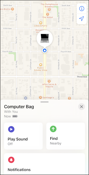 apple airtag shown on map
