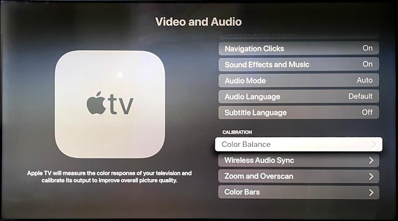 appletv tvos color calibration menu setting