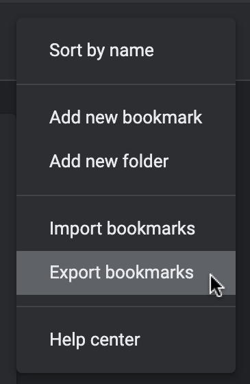 export bookmarks from google chrome