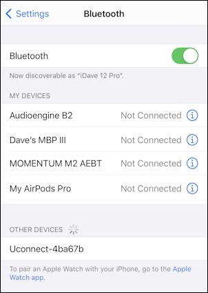 chrysler dodge uconnect - iphone ios14 add bluetooth pair