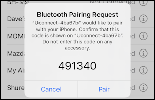 chrysler dodge uconnect - iphone bluetooth pairing request code