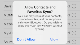 chrysler dodge uconnect - iphone allow contacts sync