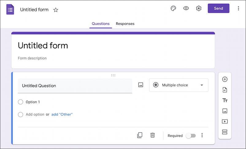google forms docs - new form survey questionnaire - basic