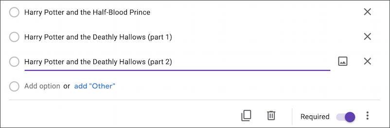google forms docs - new form survey questionnaire - enter options multiple choice
