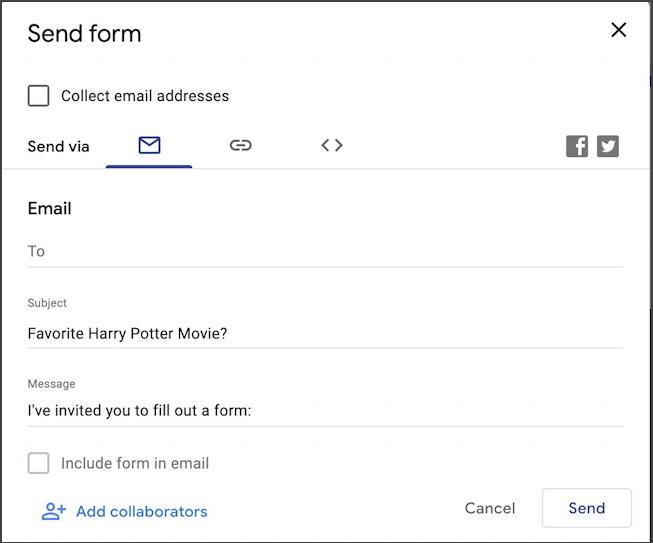 google forms docs - new form survey questionnaire - share survey