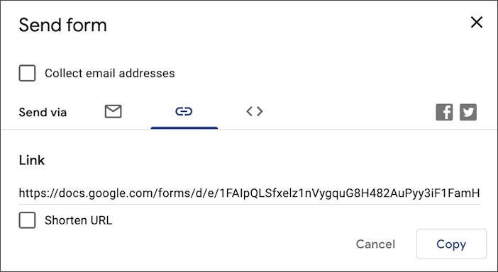 google forms docs - new form survey questionnaire - share link