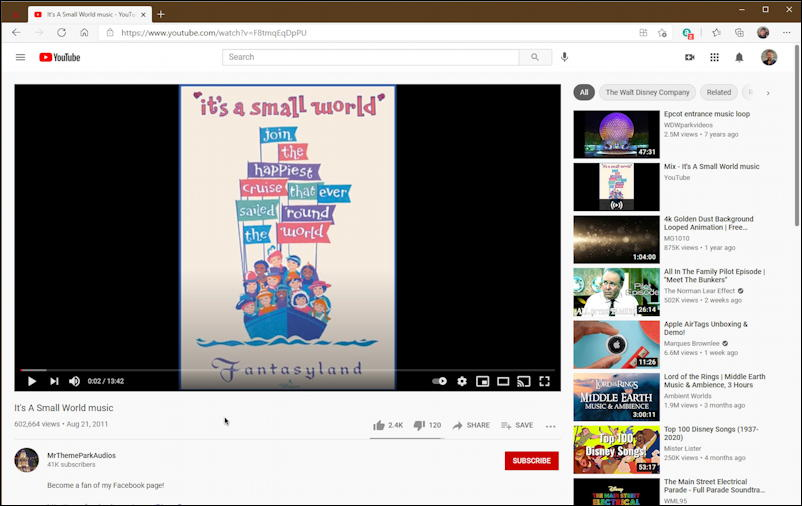 it's a small world disney music youtube video in microsoft edge