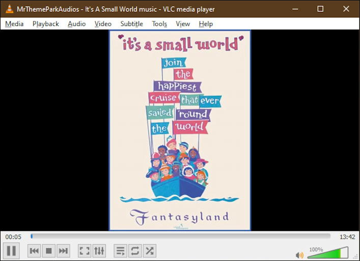 it's a small world music - playing youtube video in vlc