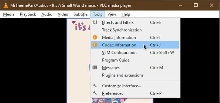 vlc - codec information menu