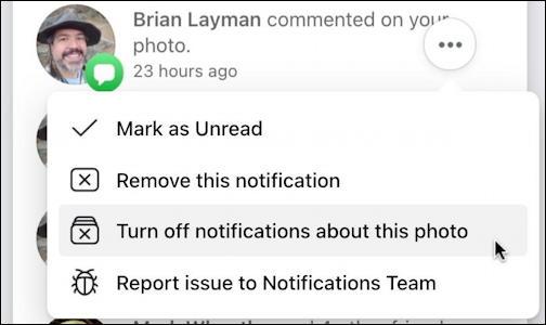 facebook notifications window - three dot menu 2