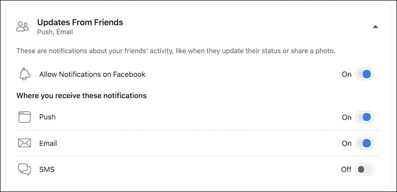 facebook notifications window - Posts from Friends