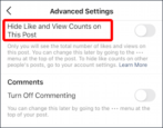 hide views likes count instagram posts how to