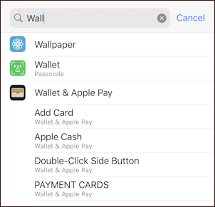 iphone 12 ios14.5 - settings search 'wall'