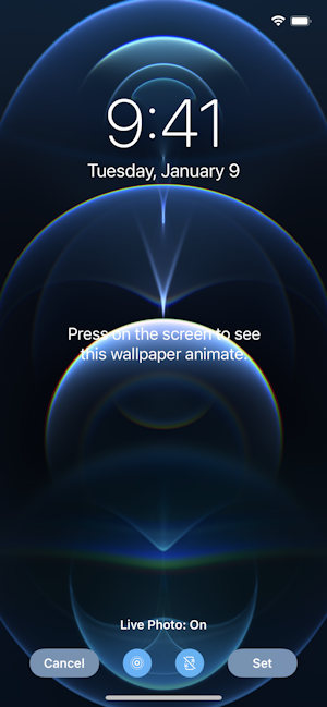 iphone 12 ios14.5 - live wallpaper press to animate