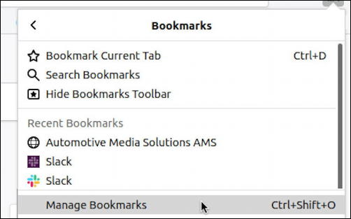 linux firefox import bookmarks - bookmark manager
