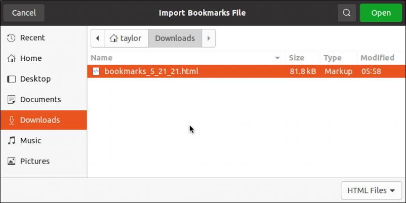 choose bookmarks html file import