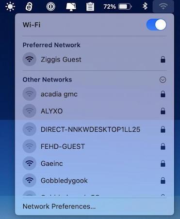 mac wifi menu existing networks
