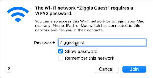 mac macos wifi network prompt for password