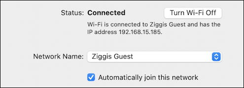 macos mac system preferences network wifi connected to internet