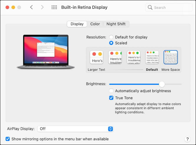 macos 11 - system preferences - displays - no second screen
