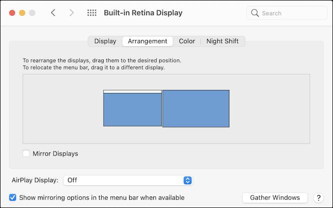 macos 11 - system preferences - displays - two displays - arrangement
