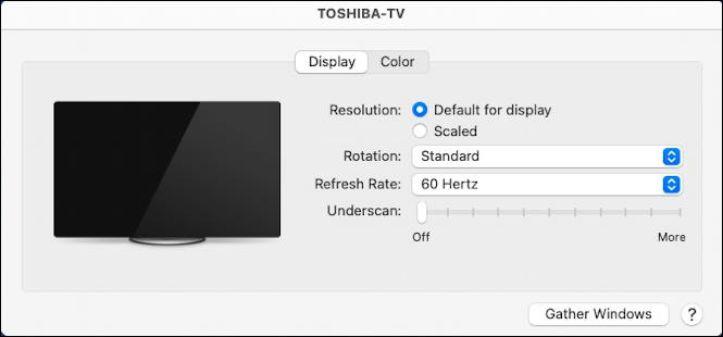 macos 11 - system preferences - displays - two displays - on TV