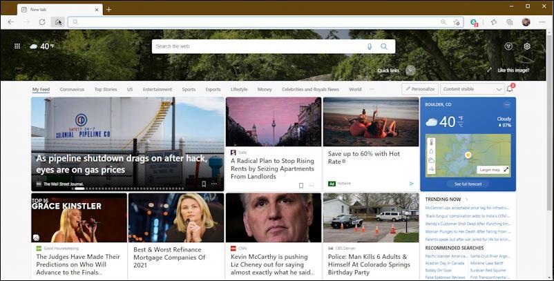 microsoft edge - default home page